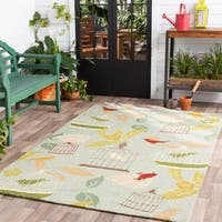 Hand-hooked Canaries Pear Green Indoor/Outdoor Area Rug - 2' x 3'