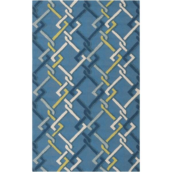 Hand-hooked Blue Indoor/Outdoor Geometric Rug (9' x 12')