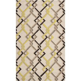 Hand-hooked Ivory Indoor/Outdoor Geometric Rug (8' x 10')