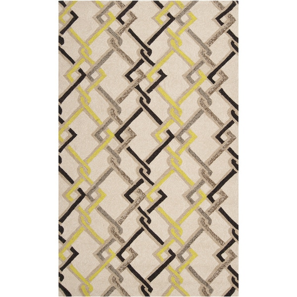 Hand-hooked Ivory Indoor/Outdoor Geometric Area Rug - 8' x 10'