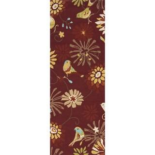 Hand-hooked Paprika Indoor/Outdoor Floral Rug (2'6 x 8')