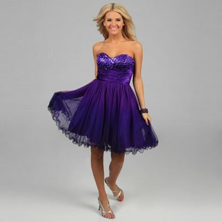 Jump Apparel Juniors Purple Strapless Sequined Party Dress