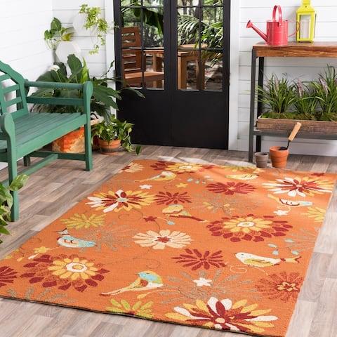 """Hand-hooked Orange Indoor/Outdoor Floral Area Rug - 2'6"""" x 8' Runner"""