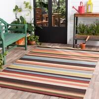 """Hand-hooked Multicolored Indoor/Outdoor Stripe Area Rug - 2'6"""" x 8'"""