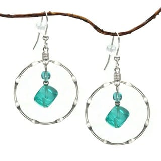 Jewelry by Dawn Large Aqua And Silver Plated Notched Hoop Earrings