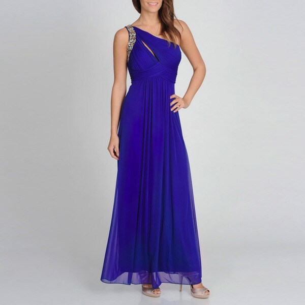 Ignite Evenings Women's Royal Blue One-shoulder Evening Gown
