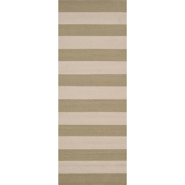 Shop Hand-hooked Khaki Sage Green Indoor/Outdoor Stripe