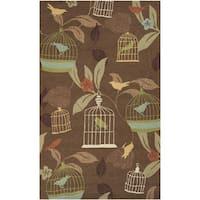 Hand-hooked Canaries Bronze Indoor/Outdoor Area Rug (8' x 10')
