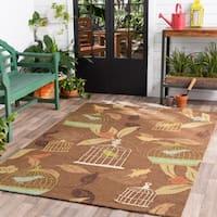 Hand-hooked Canaries Bronze Indoor/Outdoor Area Rug - 8' x 10'