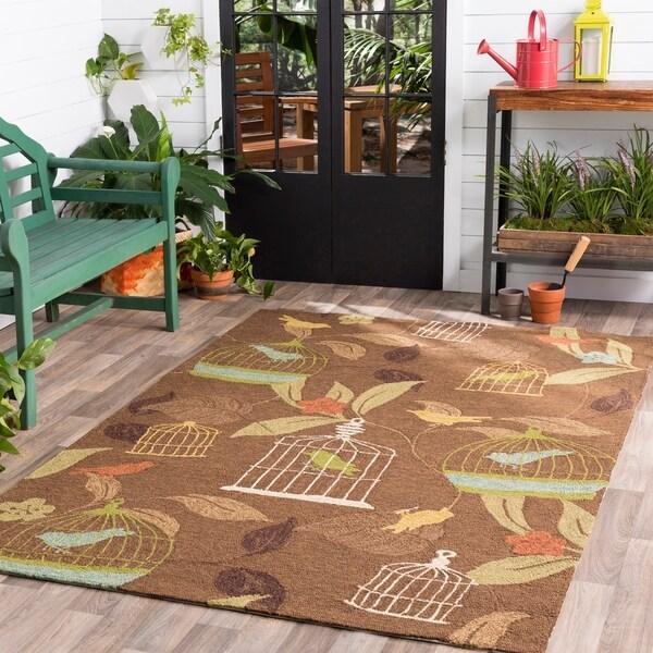 Hand-hooked Canaries Bronze Indoor/Outdoor Area Rug - 9' x 12'