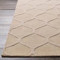 Hand-crafted Solid White Lattice Elton Wool Area Rug - 5' x 8'