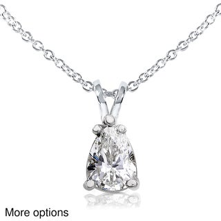 Annello 14k Gold Pear-cut Moissanite Solitaire Necklace