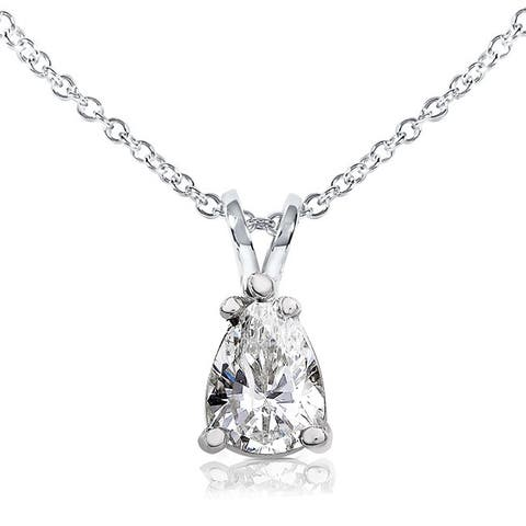Annello by Kobelli 14k White Gold 1 Carat Pear-shape Moissanite Solitaire 16-inch Necklace
