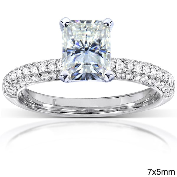 Annello by Kobelli 14k White Gold 1 1/2ct or 2ct TGW Prong-set Moissanite and Diamond Micro-pave Engagement Ring