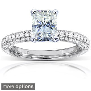 Annello by Kobelli 14k White Gold Prong-set Moissanite and 1/4ct TDW Diamond Engagement Ring