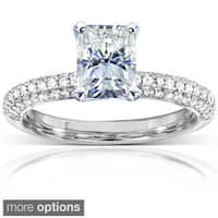Annello by Kobelli 14k White Gold 2ct TGW Radiant-cut Moissanite (HI) and Diamond Micro-pave Engagement Ring