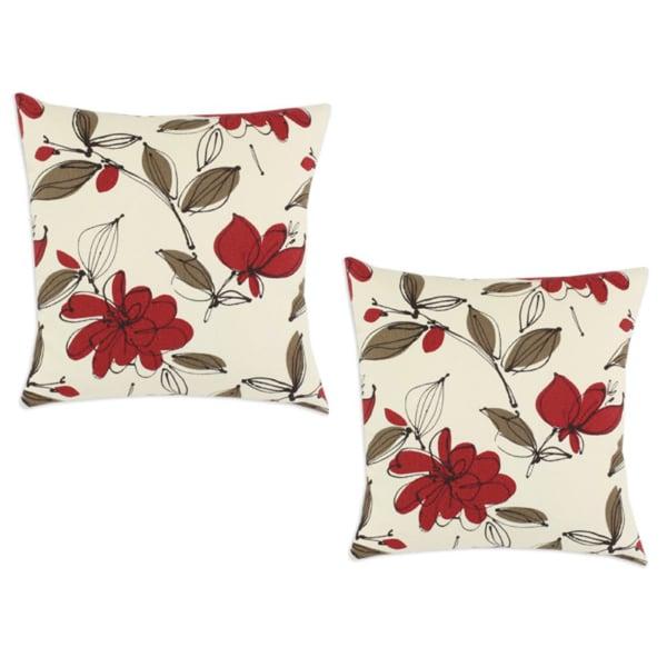Bremer Garnet Floral 17x17-inch Decorative Pillows (Set of 2)