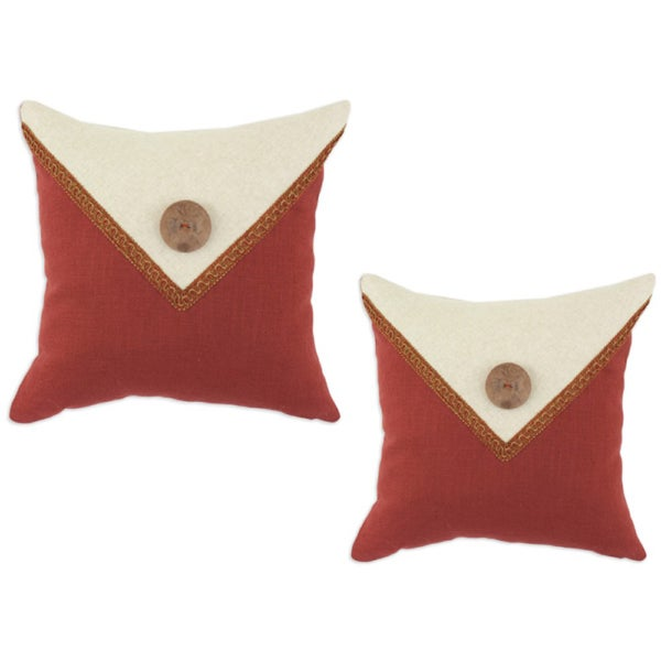 Circa Linen Lava-Linen Natural Envelope Button with Fira Gimp Throw Pillows (Set of 2)