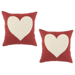 Circa Solid Lava 17x17-inch Linen Heart Throw Pillows (Set of 2)