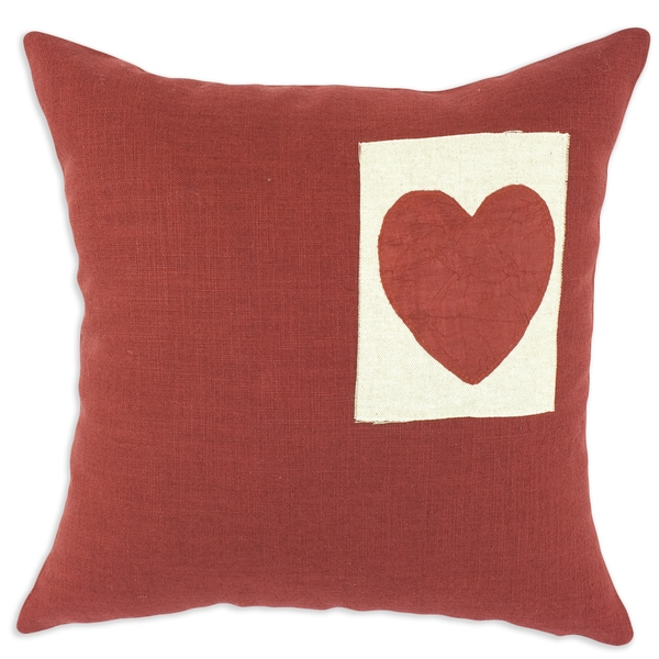 Circa Solid Lava 17x17-inch Linen Thai Heart Throw Pillows (Set of 2)