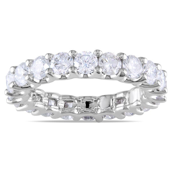 Miadora Signature Collection 18k White Gold 3ct TDW Diamond Eternity Ring (G-H, SI1-SI2)