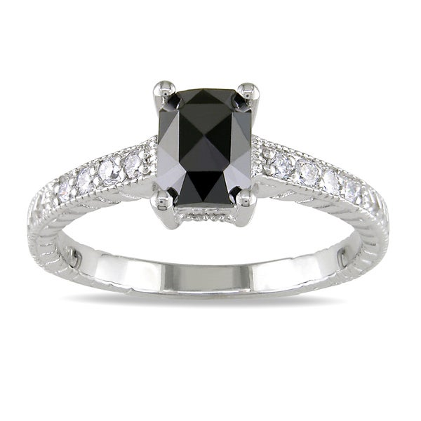 Miadora 14k White Gold 1ct TDW Black and White Diamond Ring