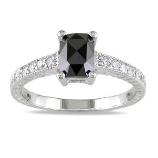 Miadora 14k White Gold 1ct TDW Black and White Diamond Ring