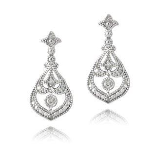 DB Designs Sterling Silver 1/10ct TDW Diamonds Dangle Earrings (J, I3)