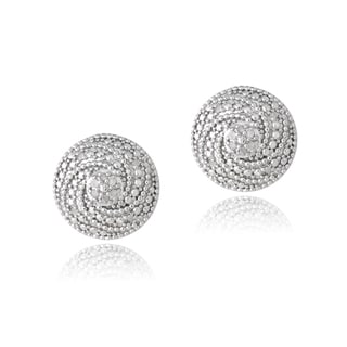 DB Designs Sterling Silver 1/10ct TDW Diamonds Swirl Earrings