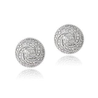 DB Designs Sterling Silver 1/10ct TDW Diamonds Swirl Earrings