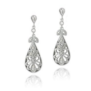 DB Designs Silver 1/10ct TDW Diamonds Filigree Teardrop Earrings
