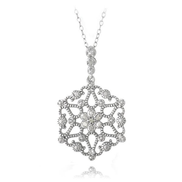 DB Designs Sterling Silver 1/10ct TDW Diamonds Snowflake Necklace