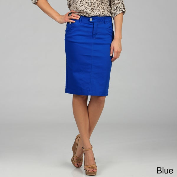 Tabeez Women's Colored Knee-length Twill Denim Skirt - Free ...