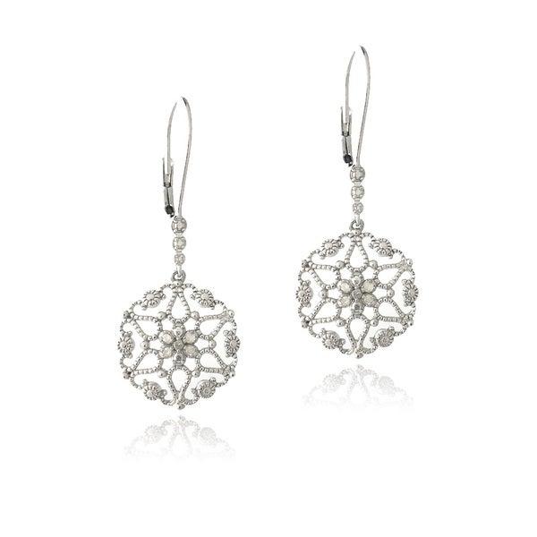 DB Designs Sterling Silver 1/10ct TDW Diamonds Filigree Earrings
