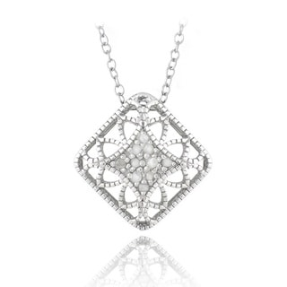 DB Designs Sterling Silver 1/10ct TDW Diamonds Filigree Necklace