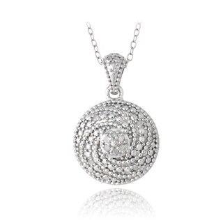 DB Designs Sterling Silver 1/10ct TDW Diamonds Swirl Necklace (J, I3)