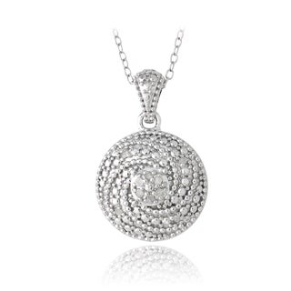 DB Designs Sterling Silver 1/10ct TDW Diamonds Swirl Necklace