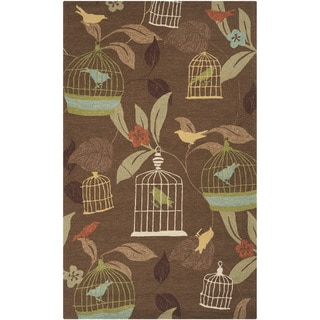 Hand-hooked Canaries Bronze Indoor/Outdoor Rug (2' x 3')
