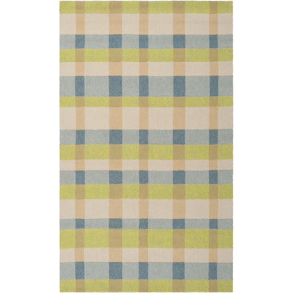 Hand-hooked Seashore Indoor/Outdoor Bright Plaid Area Rug - 9' x 12'
