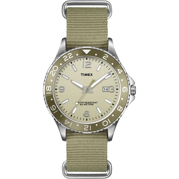 Timex Men's T2P035 Fashion Ameritus Sport Olive Green Nylon Slip Thru Strap Watch