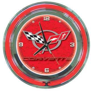 Corvette C5 Red Neon Clock