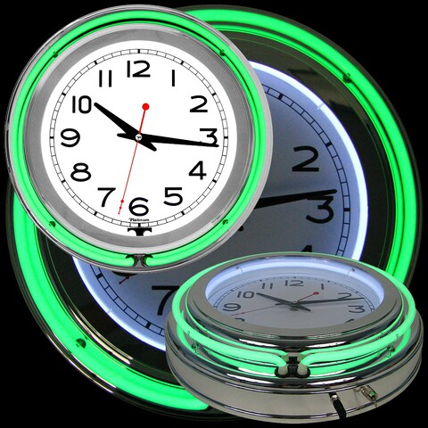 Retro Neon Wall Clock - Battery Operated Wall Clock Vintage  14 Inch Round Analog by Lavish Home (Green and White)