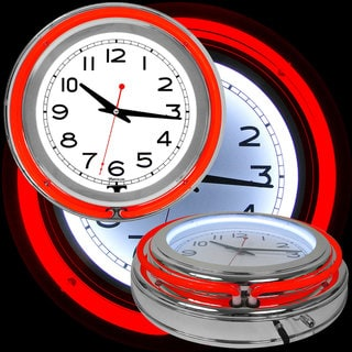Red/ White Double Ring Neon Clock