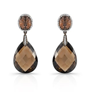 Silver Smokey Quartz and 1/3ct TDW Diamond Earrings (I-J, I1-I2)
