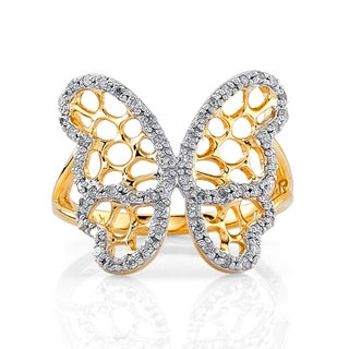 Victoria Kay 14k Yellow Gold over Silver 1/3ct TDW Two-Tone Diamond Butterfly Ring