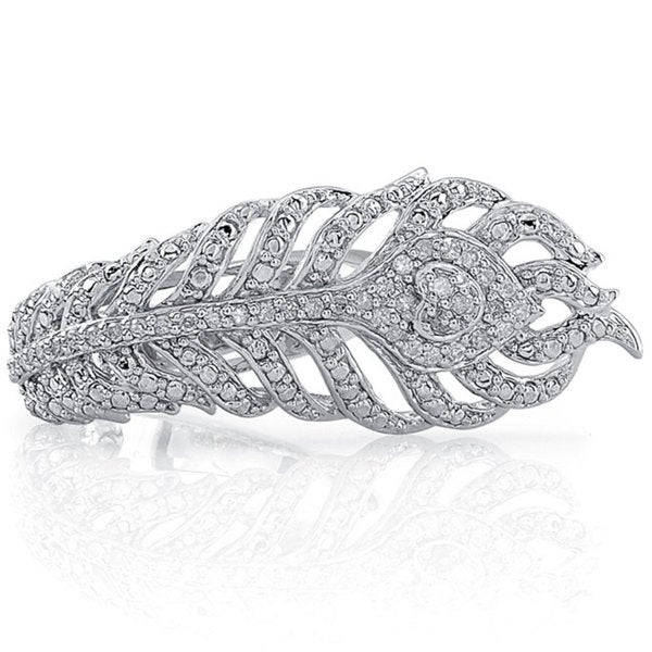 Victoria Kay Sterling Silver 1/5ct TDW Diamond Feather Ring