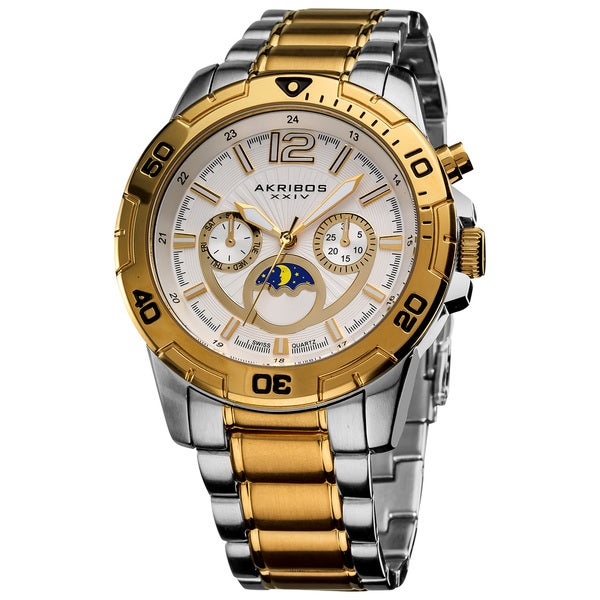 Akribos XXIV Men's Swiss Quartz Diver's Multifunction Two-Tone Bracelet Watch