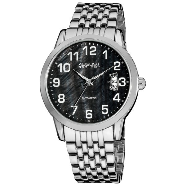August Steiner Men's Automatic Stainless Steel Black Bracelet Watch