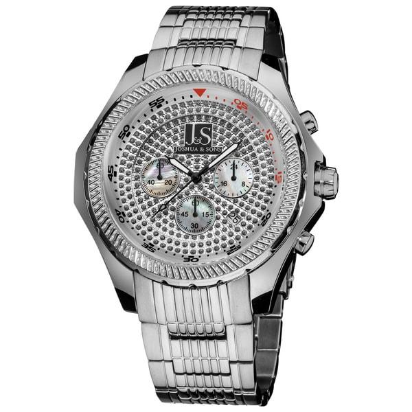 Joshua & Sons Men's Large Dial Quartz Chronograph Stainless Steel Silver-Tone Bracelet Watch. Opens flyout.