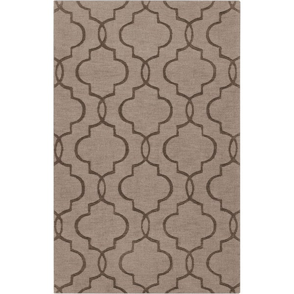 Hand-crafted Triplett Brown Geometric Lattice Wool Rug (2' x 3')